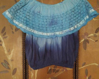 80s off the shoulder cheesecloth peasant crop blouse in blue ombre colours
