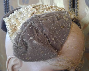 50s woven hat with three brown velvet bows and net veil by Clover Lane