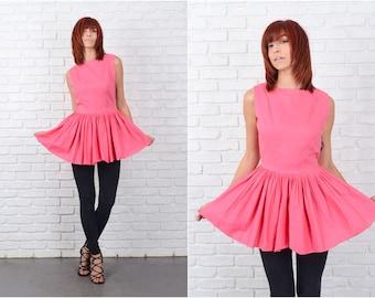 Vintage 60s Pink Mini Top Dress Tunic Pleated Mod Sleeveless Small S 9680