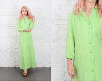 Vintage 70s Green Mod Dress Maxi Shirtdress Shirt Dress Medium M 9685 vintage dress 70s dress green dress medium dress