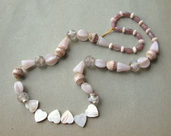 Destash Vintage Beads Pale Pink Glass and MOP Curated Strand of 54 Beads