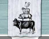 Shower Curtain and More - Shiplap Black Farm Animals Americana Farmhouse | See Dropdown for Pricing and Matching Decor Options