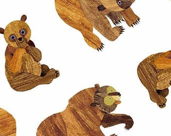 Beary Many Brown Bear on White from Eric Carle's Beary Happy Collection from Andover Fabric