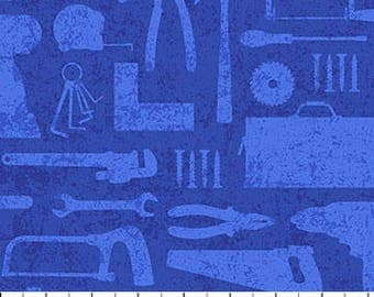 Tools on Blue from Northcott Fabric's Nuts and Bolt Collection by Deborah Edwards