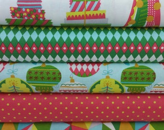 Pink & Green All is Bright Bundle from Blend Fabrics by Maude Asbury (5 Fabrics)