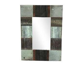 28 in. x 34 in. Patchwork Reclaimed Copper Framed 4.5 in. Mirror