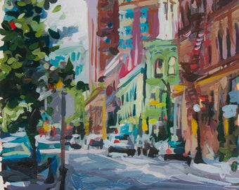 """Wall Art // Cambie & Cordova (Vancouver no. 67) // 9"""" x 9"""" // Original Acrylic Painting on Paper"""