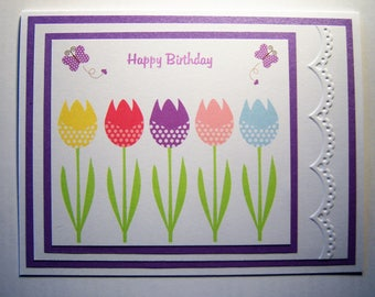 Tulips and Butterflies Birthday Card
