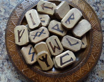 DELUXE WOOD Rune Set #1 Divination or Jewelry Making Crafts