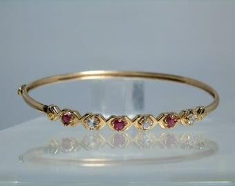 Vintage 10k Yellow Gold Ruby Diamond Bangle Bracelet Locking Clasp Fancy Design 6.75 inches internal length DanPickedminerals