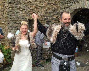Winter Bride - Burning man clothing - Dark Faux Fox - Viking Wedding - Faux Fur Cape