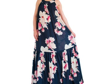 MAGNOLIA printed maxi dress/ maxi dress plus size/ floral maxi dress/ backless gown/ long backless dress/ maternity maxi dress/ Floral dress