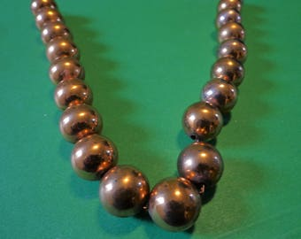 RENOIR Copper NECKLACE Signed CLASSIC Rare Bead Globe Ball on Chain Vintage Jewelry Matisse