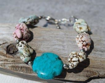 Turquoise Cross Howlite Bracelet, Southwestern Stone Bracelet