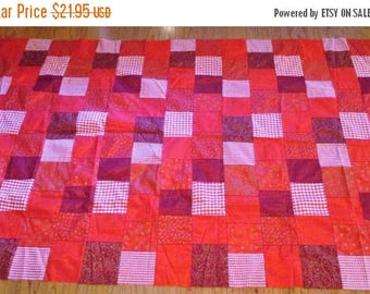 60% Off SALE Quilt Top...Red Fabric Quilt Squares