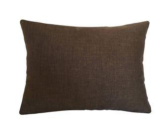 "Brown Cosmo Linen Decorative Throw Pillow Cover / Pillow Case / Cushion Cover / 12x16"""