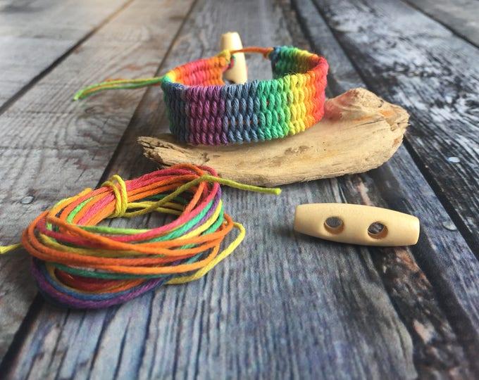 Bead Kit Hemp Rainbow Love Weaved bracelet designed by Julianna C Avelar Jewel Loom