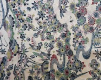"Antique Japanese silk crepe kimono fabric 92 cm x 36 cm stream and flowers  36"" x 14"""