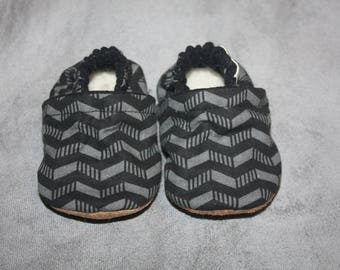 gray and black baby shoes baby boy shoes baby Booties zig zags baby shoes stylish baby shoes slippers newborn to size 10  toddler slippers