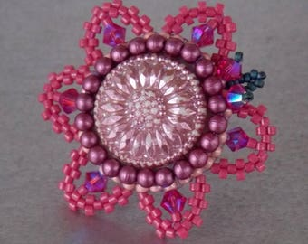 Summer sale -15% Ring,Bead embroidery , Seed beads jewelry, Fashionable ring, Statement ring, pink , Purple, Czech glass buttons,swarovski