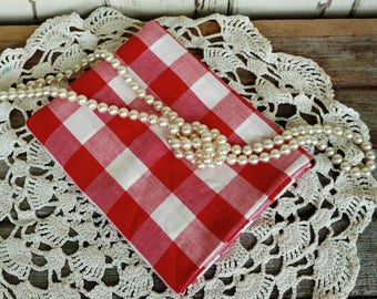 """Retro Red Large Check Gingham - Vintage 1950's Cotton Fabric, White + Candy Apple Red Sewing Fabric, Home Decor, Baby Nursery, 56"""" by 36"""""""