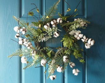 Spring Greenery Wreath With Cotton Stems - New Easter or Spring Wreath, Wedding Wreath or Decoration, Spring Green Ferns + Cotton Wreath