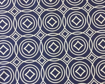 Ikea Blue and White Geometric cotton print fabric by the metre