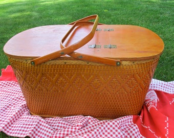 Vintage Picnic Basket, Classic Redman Woven Wicker,Wooden Hinged Lids,Orange Metal Handles Pie Shelf, LARGE Picnic Baskets, Photo Prop As-Is