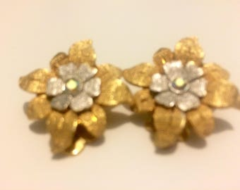 Vintage Silver and Gold Flower Clip On Earrings