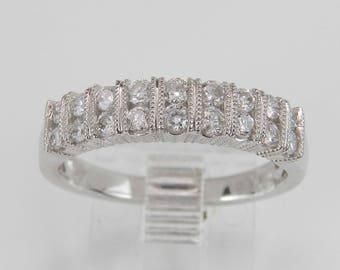 Diamond Wedding Ring Anniversary Band White Gold Size 7.75 Double Row Round