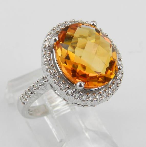 Diamond and Citrine Halo Engagement Promise Ring 14K White Gold Size 6 November Birthstone