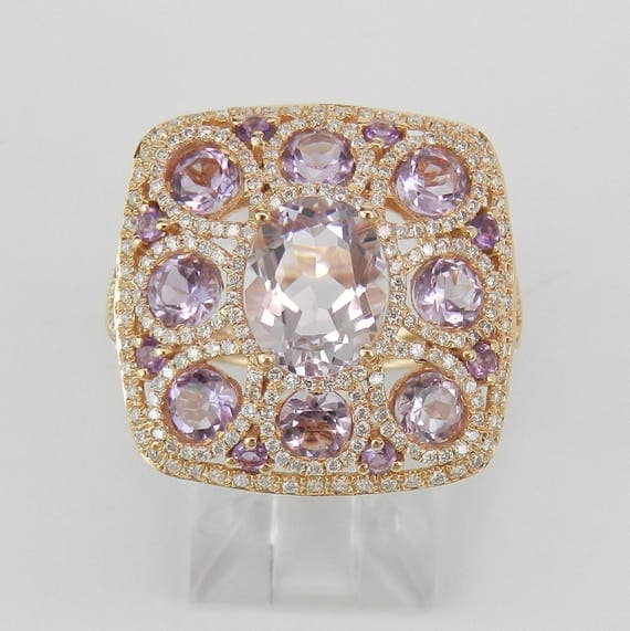 18K Rose Gold 5.20 ct Amethyst and Diamond Cocktail Cluster Ring Size 7 February