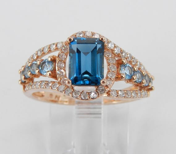 Emerald Cut London Blue Topaz and Diamond Engagement Ring 14K Rose Gold Size 7