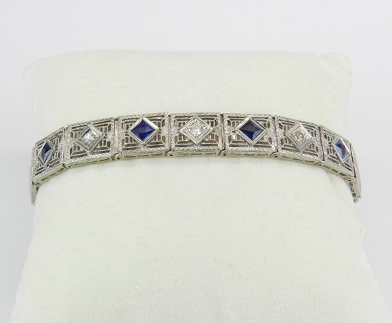 Diamond and Sapphire Bracelet Antique Bracelet Art Deco Bracelet 14K White Gold Platinum Circa 1920's