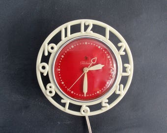 1940's Telechron Decorator Clock, Model 2H21, Red and White Vintage Kitchen Clock , Retro Electric Wall Clock