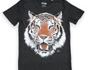 TIGER t shirt graphic tee illustrated t-shirt mens t shirt unisex tiger illustration grey heather tee organic t shirt