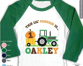 Pumpkin Tractor Birthday Shirt or bodysuit - raglan sleeves - Personalized Tractor First Birthday Shirt - FOR ANY AGE - Fall Birthday Shirt