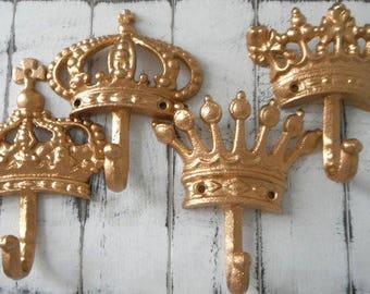 set crown hooks shabby decor set crown set bedroom decor french country cottage chic nursery decor paris apartment coat hook wall hooks