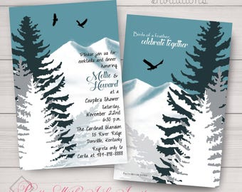 Invitations-Wedding-Shower-Birthday-Vacation-Getaway, Mountains, Hawk, Teal, Nature, Snow, Winter, White, Hippie.  Printed or DIY