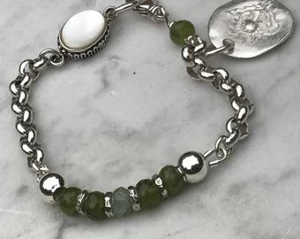 Grosullar Garnet - Chryosphrase - Sterling Silver Bracelet - Large Rolo Chain - Fine Silver Charm - Raw Artisan - Sundance style