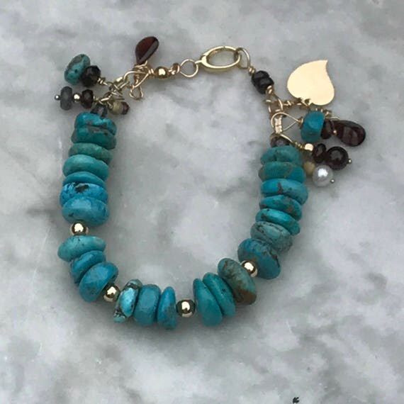 14 k Gold and Turquoise Bracelet - Gold heart Charm - Garnets - Rustic Turquoise and Gold Jewelry - Southwestern Sundance style