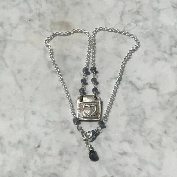 Tanzanite + Pendant + Necklace + Boho Sundance Style + Rustic + Fine silver
