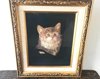 Vintage 3-D Cat Picture Made of Wood, Framed Cat Picture, Cat Art, Signed