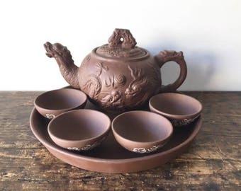 Vintage Japanese Clay Teapot Set, 7-Piece Dragon Teapot Set