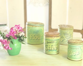 Vintage Set of Nesting Tin Collectible Kitchen Canisters Green Ballonoff