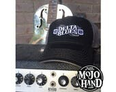 Delta Blues Music Hat from Mojohand.com - delta blues music themed cap - black and grey
