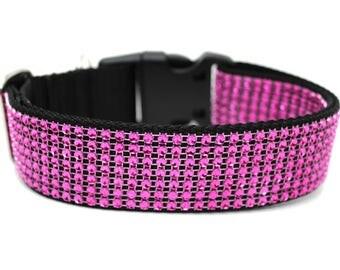"Hot Pink Rhinestone Dog Collar 1"" or 1.5"" Pink Rhinestone Dog Collar"