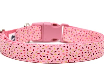 "Birthday Dog Collar 3/4"" or 1"" Pink Dog Collar Sprinkles Dog Collar"
