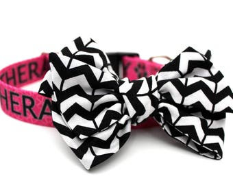 Dog Collar Bow Add-On Pink Black and White Bow for Dogs Matching Dog Bow Dog Collar