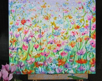 Flower Field - Original Abstract Acrylic painting on Stretched canvas,size 12x12,green,pink,white,plue,yellow,orange, art,floral painting